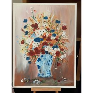 💫NEW ▪️ Wild flowers in blue vase painting